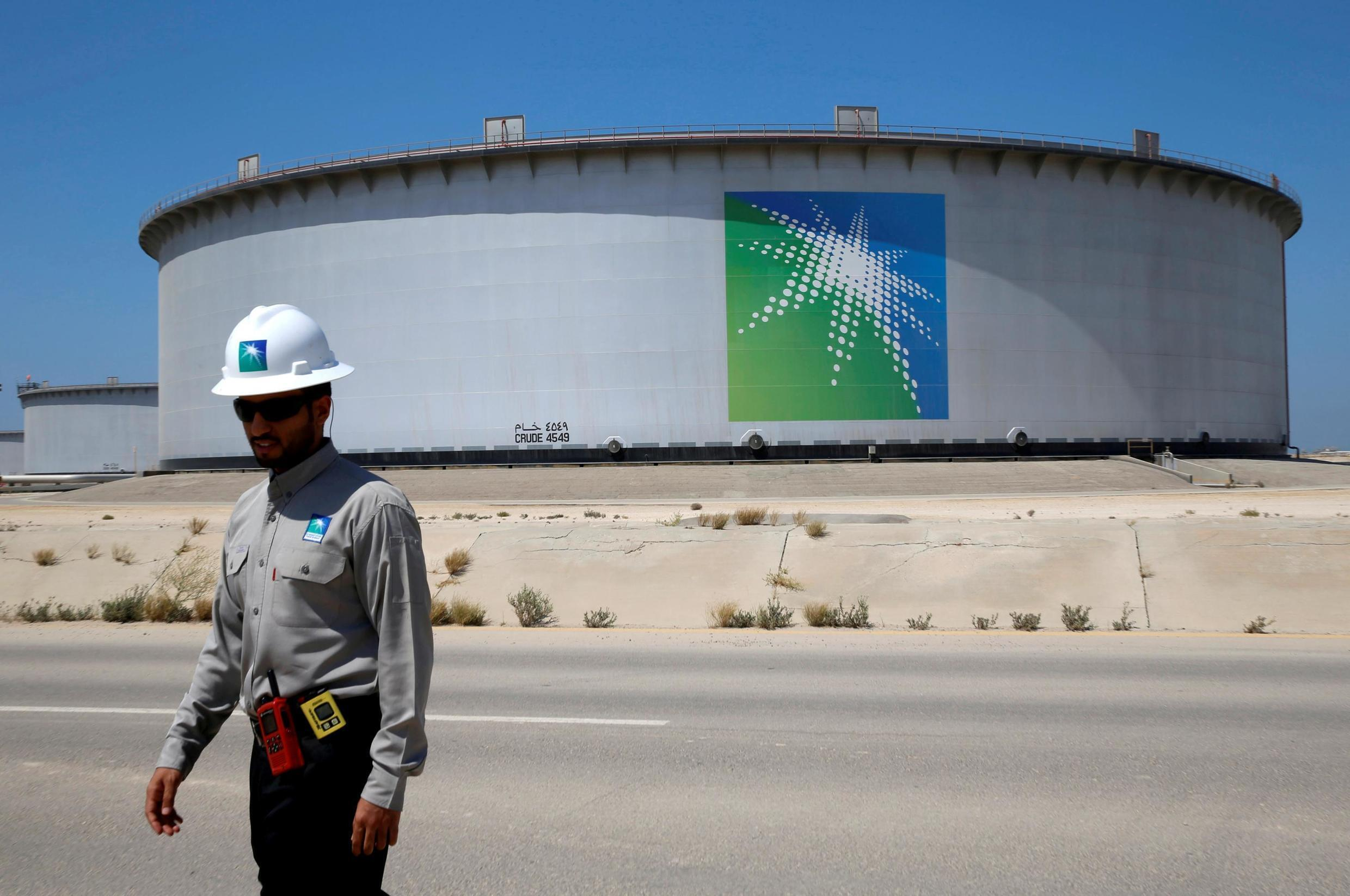 An oil storage depot run by Aramco, Saudi Arabia's state-owned energy company.