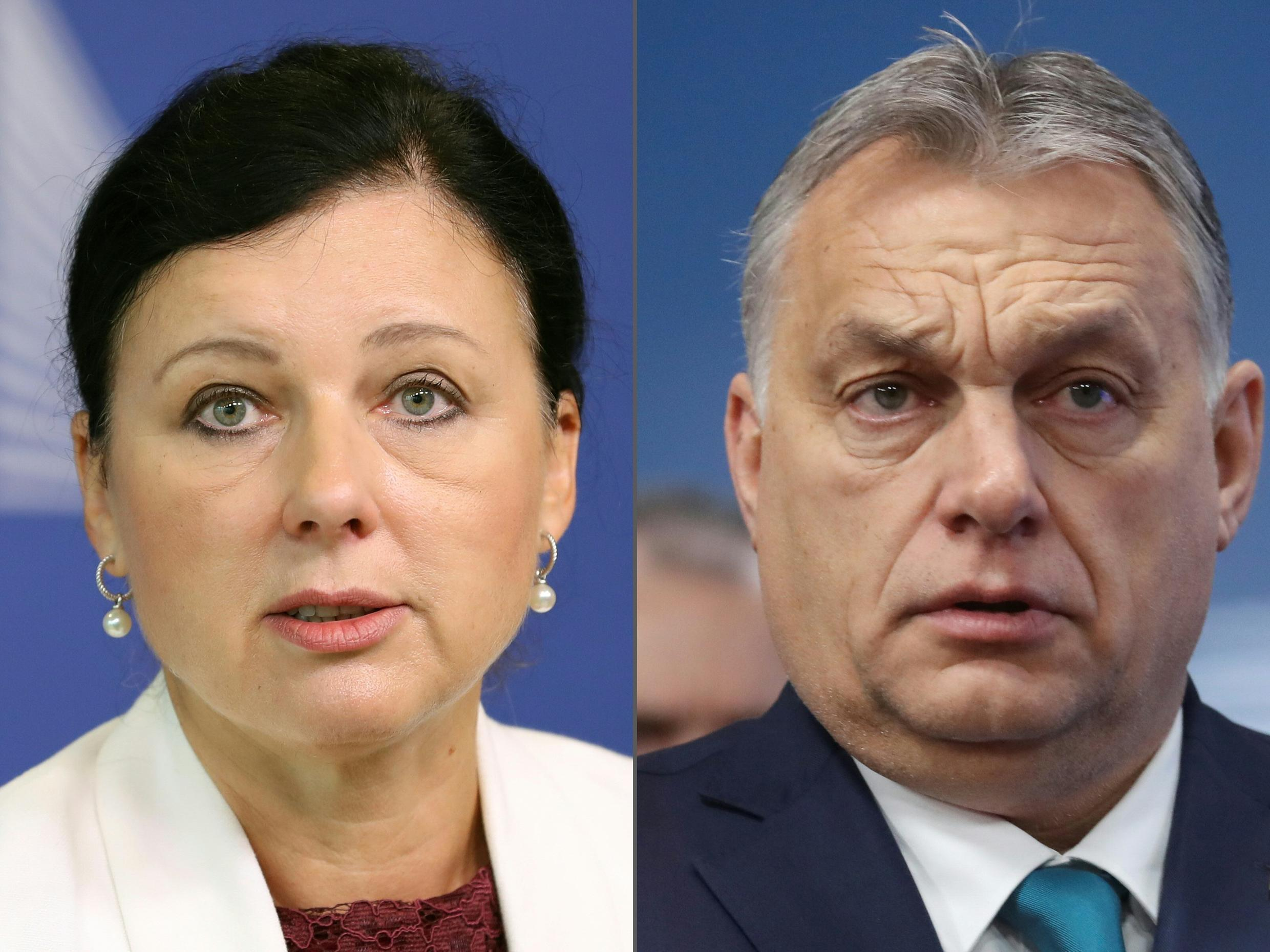 Jourova, a Czech, received support from Commission President Ursula von der Leyen after Hungary's Prime Minister Viktor Orban slammed criticism and cut off political contact with her