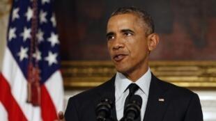 Barack Obama après le vote du Congrès, le 18 septembre 2014.