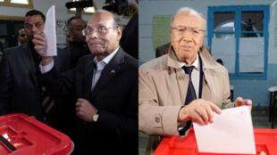Le président sortant Moncef Marzouki (g), et le leader de Nidaa Tounes, Béji Caïd Essebsi (d) sont les deux candidats du second tour de l'élection présidentielle en Tunisie.