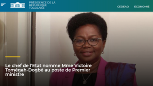 Victoire Sidémèho Tomegah sur le site officiel de la présidence togolaise (capture d'écran).