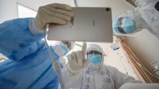 Hospital da Cruz Vermelha em Wuhan, na China. 16 de Fevereiro de 2020.