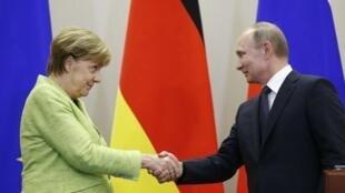 آنگلا مرکل صدراعظم آلمان و ولادیمیر پوتین رئیس جمهوری روسیه