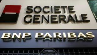 Société Générale và BNP-Paribas, hai trong số ba ngân hàng Pháp đang bị đe dọa hạ điểm tín nhiệm.