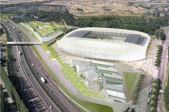 Sân vận động Lille Métropole nhìn từ trên cao xuống. Công ty tư vấn LPC của hai kỹ sư Lâm Minh Đức và Nguyễn Thanh Phong phụ trách bản vẽ thi công và cốt thép cho toàn bộ phần chỗ ngồi, khán đài và bãi để xe.