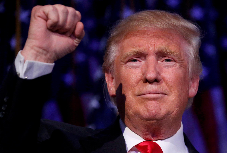 Le président Donald Trump, lors de son discours la nuit de son élection, le 9 novembre 2016.