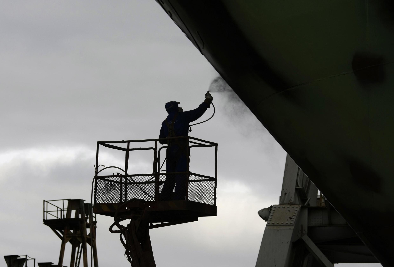 Un travailleur nord-coréen pris en photo à Gdynia en Pologne. (Illustration)