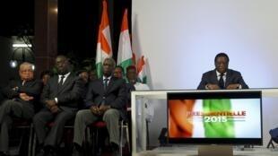 Youssouf Bakayoko, président de la Commission électorale indépendante (CEI) de Côte d'Ivoire, annonce les résultats officiels de l'élection présidentielle mercredi 28 octobre 2015 à Abidjan.