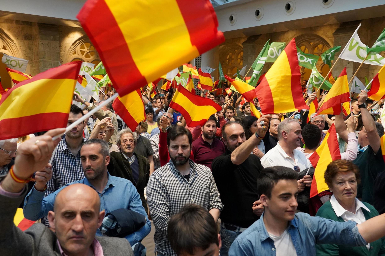 Comício de campanha do partido de extrema direita Vox, em Burgos, no norte do país.