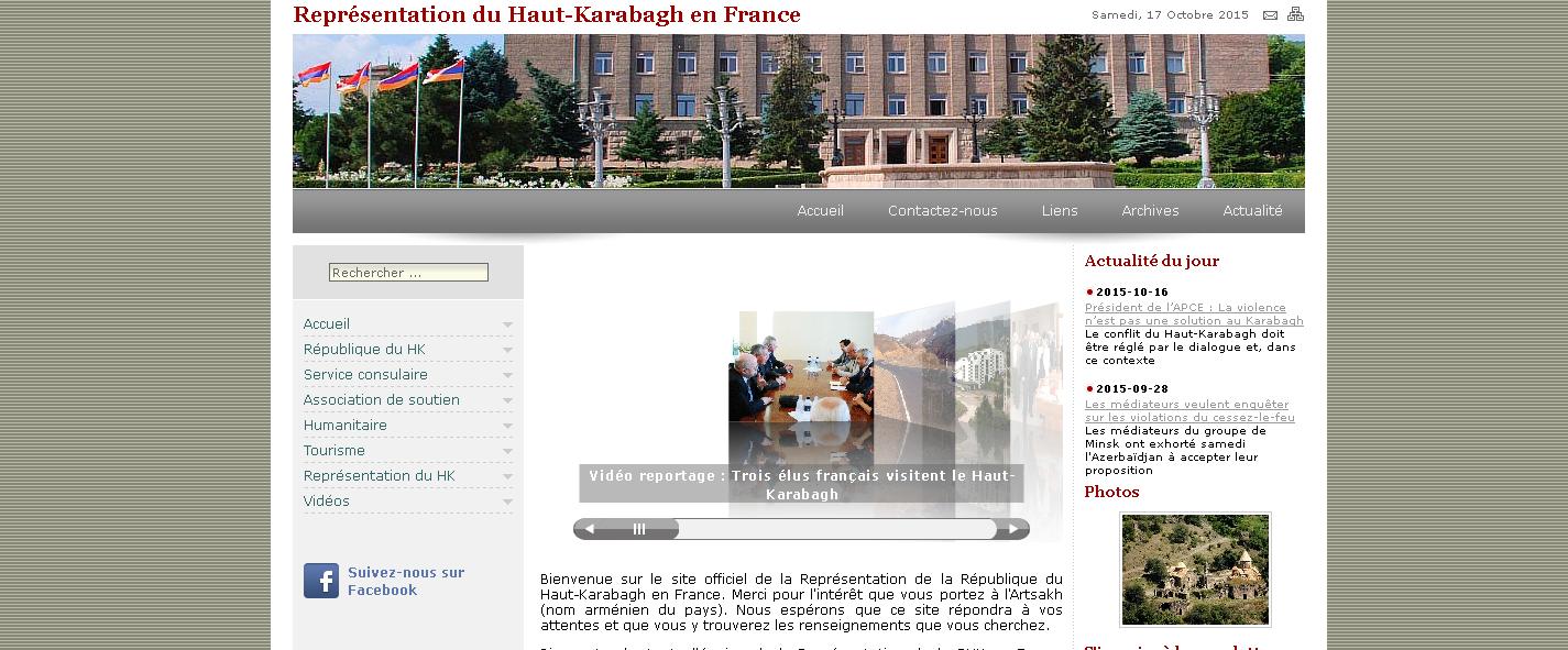 Site de la représentation du Haut-Karabagh à Paris.