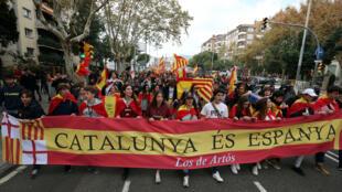«Каталония – это Испания»: манифестация противников независимости региона, Барселоне, 18 ноября 2017.
