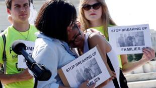 Réaction de manifestants devant la Cour Suprême qui a validé la loi «Muslim ban», voulue par Donald Trump, le 26 juin 2018.