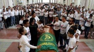 墨西哥阿尔卡市遇害市长候选人何塞• 雷梅迪奥斯• 阿吉雷葬礼弥撒资料图片