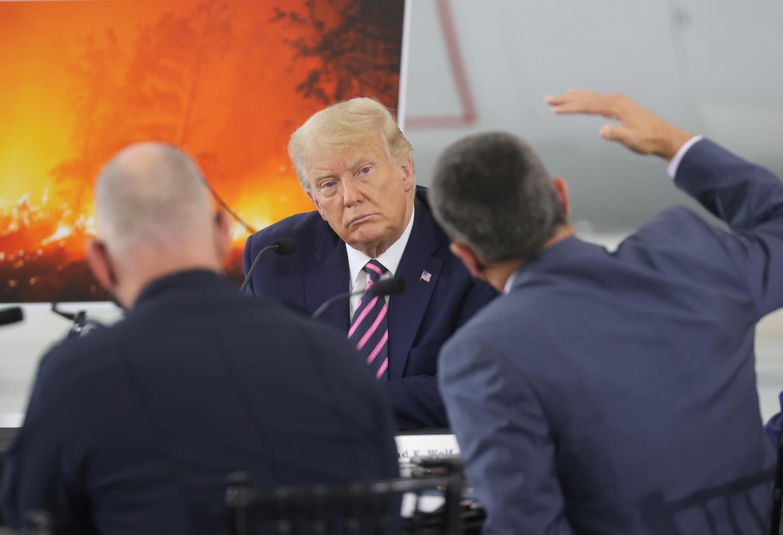 Tổng thống Mỹ Donald Trump trong cuộc họp về hỏa hoạn tại California, ngày 14/09/2020.