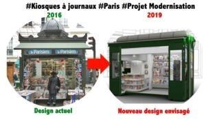 El diseño actual del kiosco (izquierda) y el modelo que podría reemplazarlo.