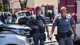 Policía en la escena del crimen en Suzano, en la región metropolitana de Sao Paulo, el 13 de marzo de 2019.