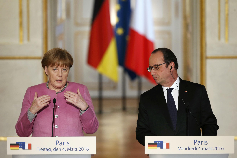 Angela Merkel y François Hollande en rueda de prensa, París 4 de marzo de 2016.
