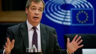 英国独立党前领袖奈杰尔·法拉奇资料图片