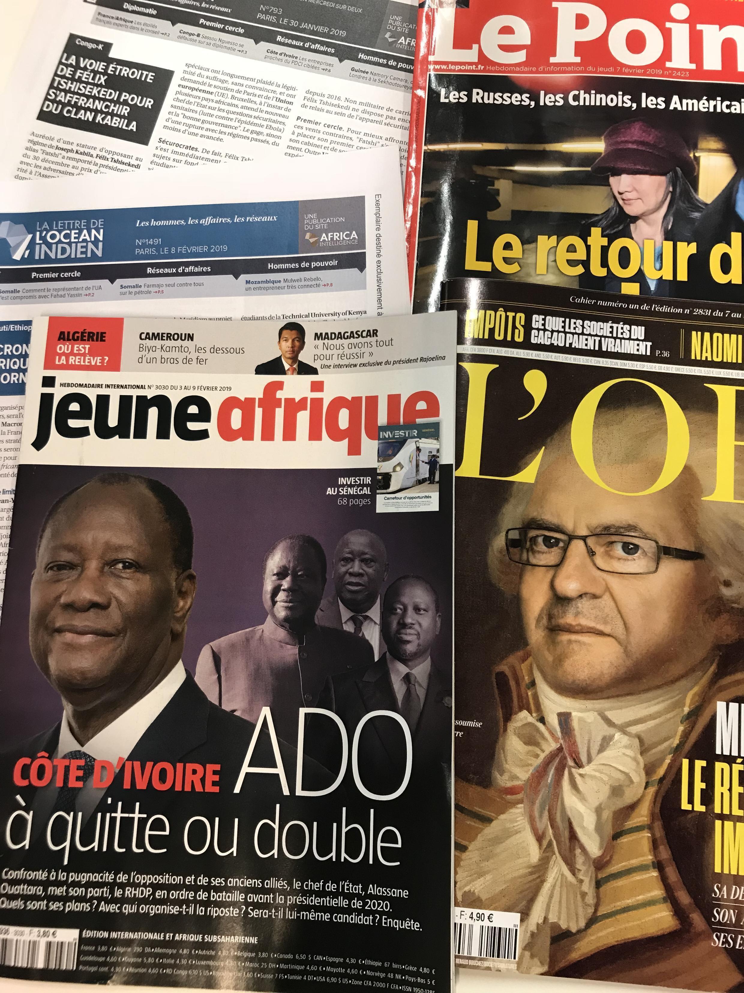 Semanários de língua francesa de 09/02/19, publicados em França