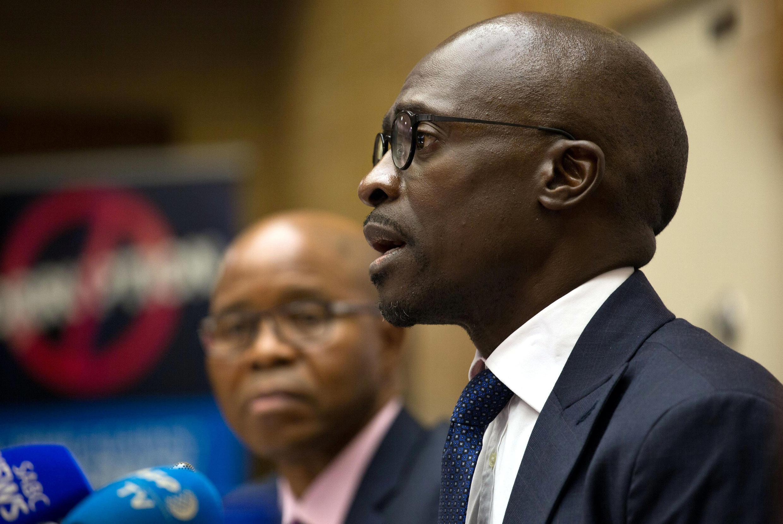 Le ministre des Finances d'Afrique du Sud Malusi Gigaba en conférence de presse à Pretoria, le 4 avril 2017.