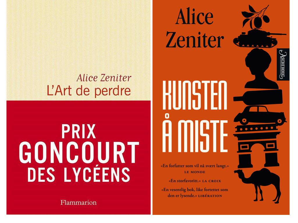 Couvertures française (Flammarion) et norvégienne du roman d'Alice Zeniter (Aschehoug).