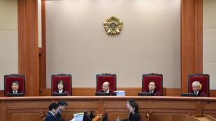 Tòa Bảo Hiến Hàn Quốc trong phiên điều trần về vụ phế truất tổng thống Park Geun-Hye, Seoul, ngày 05/01/2017