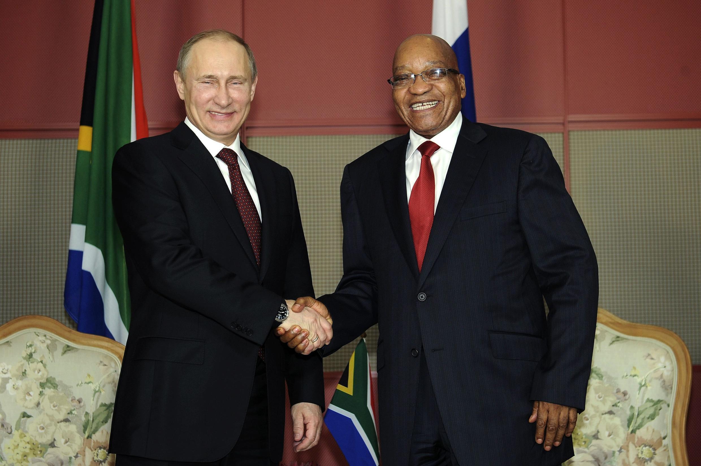 President Jacob Zuma with President Vladmir Putin before their bilateral meeting the 5th Brics Summit in Durban