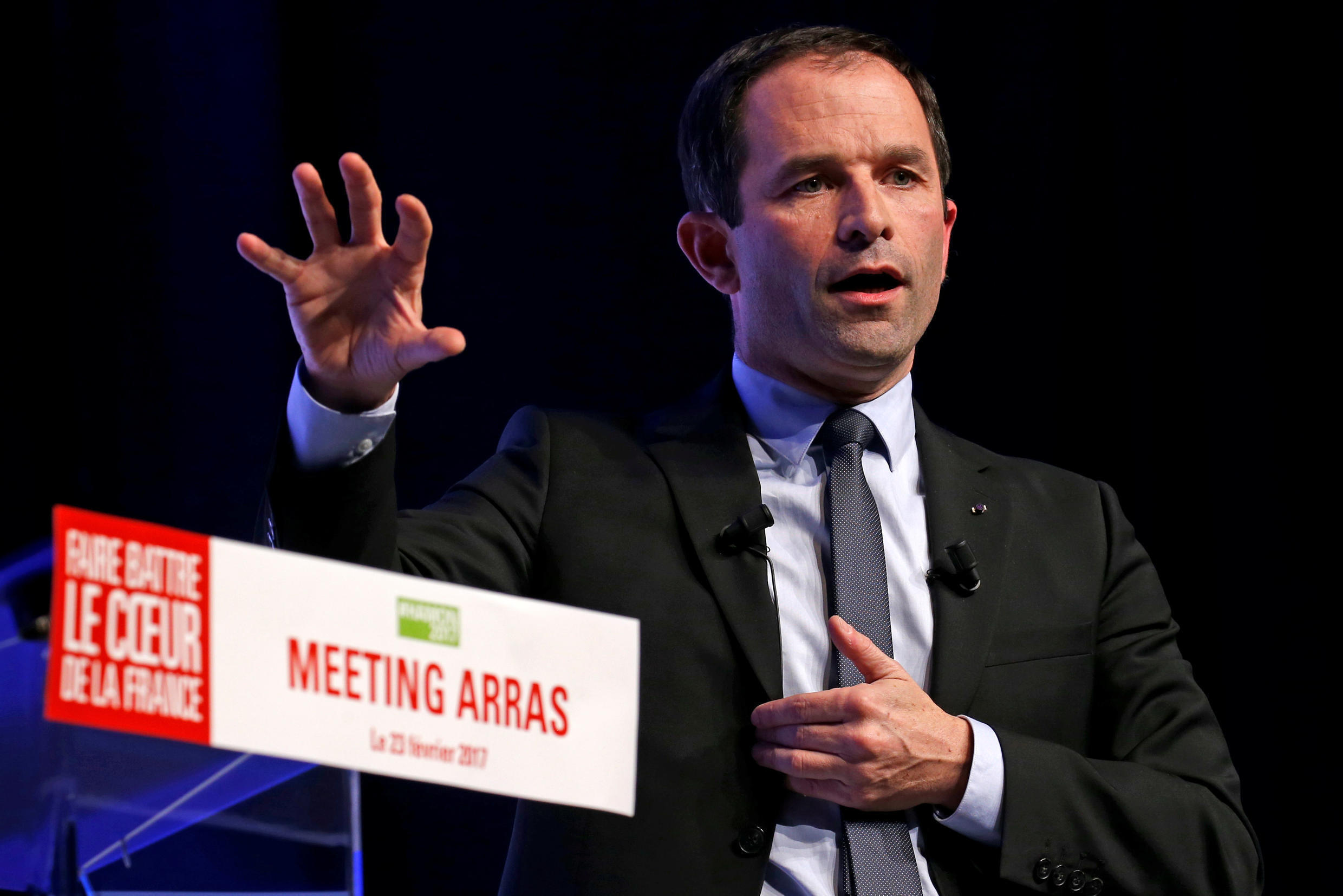 Benoit Hamon, French Socialist party 2017 presidential candidate, attends a political rally in Arras, France February 23, 2017.