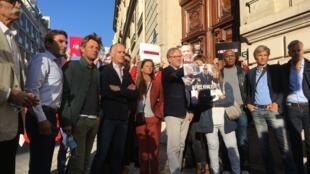 Rassemblement à Paris pour demander la libération du journaliste algérien Khaled Drareni, le 7 septembre 2020.