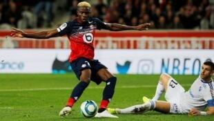 Le Nigérian Victor Oshimen lors de Lille-RC Strasbourg le 25 septembre 2019.