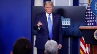 Donald Trump em uma coletiva de imprensa na Casa Branca, 23 de setembro de 2020.