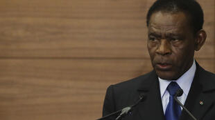 O Presidente da República da Guiné-Equatorial, Teodoro Obiang Nguema Mbasogo, discursa durante a sessão de abertura Cimeira da CPLP