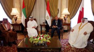 阿聯酋,沙特阿拉伯,巴林,埃及四國外交大臣和外長於埃及首都開羅就卡塔爾外交危機舉行會議,2017年7月5日。