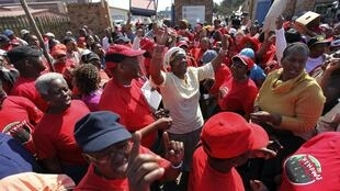 Strikers outside a South African hospital