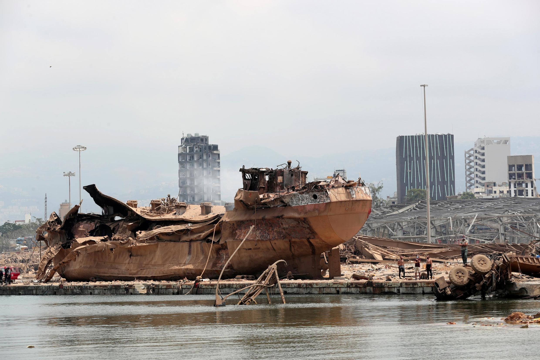 Les marques des explosions sur le port de Beyrouth.