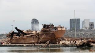 El puerto de Beirut después de las explosiones.