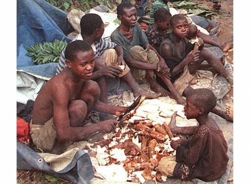 Rwandan Hutu refugees on the road to Kisangani in March 1997