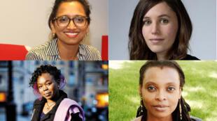 Natasha Appanah (haut gauche), Kouather Adimi (haut droite), Fatou Diome (bas gauche), Leonora Miano (bas droite) (photo-montage)