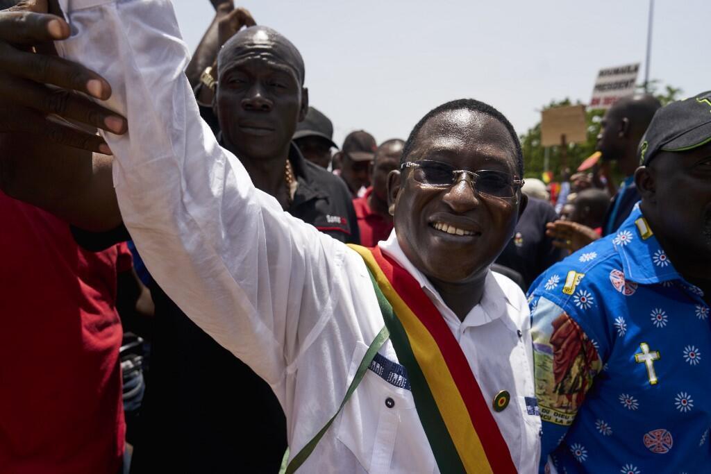 Le leader de l'opposition malienne, Soumaïla Cissé lors d'une marche en septembre 2018 à Bamako.