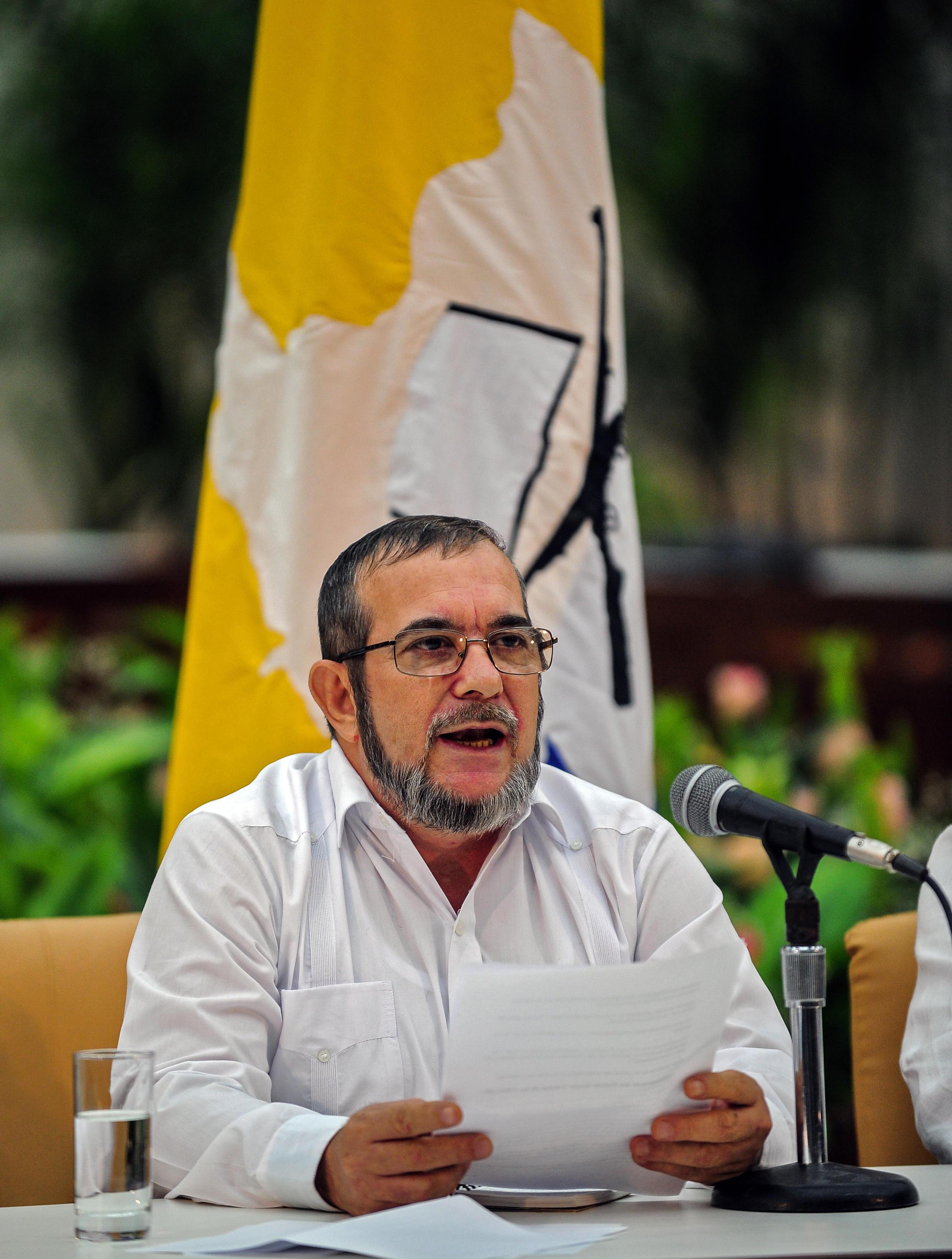 """O líder das Farc, Timoleón Jiménez, conhecido como """"Timochenko"""", em imagem de arquivo."""