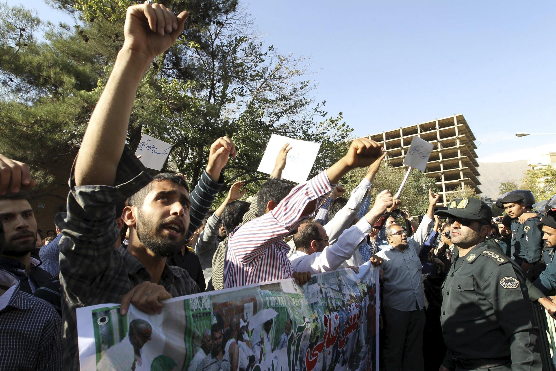 Manifestation d'Iraniens contre l'Arabie saoudite, à Téhéran, le 27 septembre 2015.