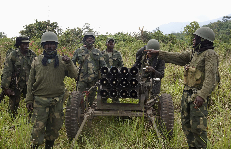 Les forces armées congolaises (FARDC) à Kibumba, le 26 octobre 2013.