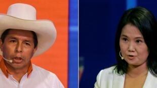 Los candidatos Pedro Castillo (izq) y Keiko Fujimori abordaron temas de salud, educación, seguridad, economía y corrupción durante más de una hora en el debate que tuvo lugar en la ciudad agrícola de Chota, en la región Cajamarca
