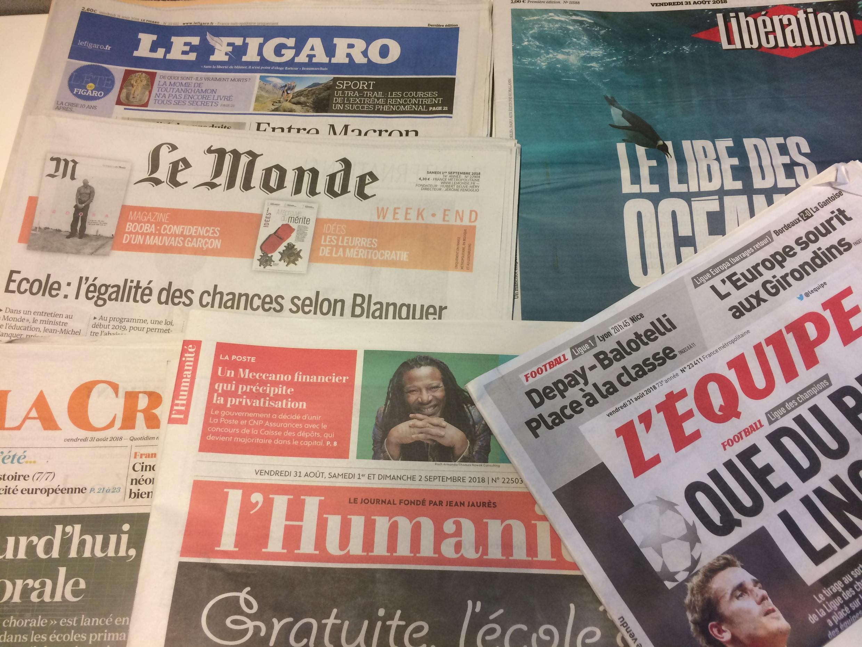 Primeiras páginas dos jornais franceses de 31 de agosto de 2018