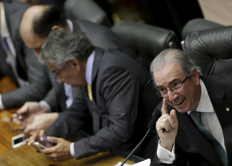 Le président du Congrès, Eduardo Cunha, ennemi juré de Dilma Rousseff lors de l'ouverture de la session du 17 avril 2016 qui s'est prononcé pour la destitution de Dilma Rousseff.