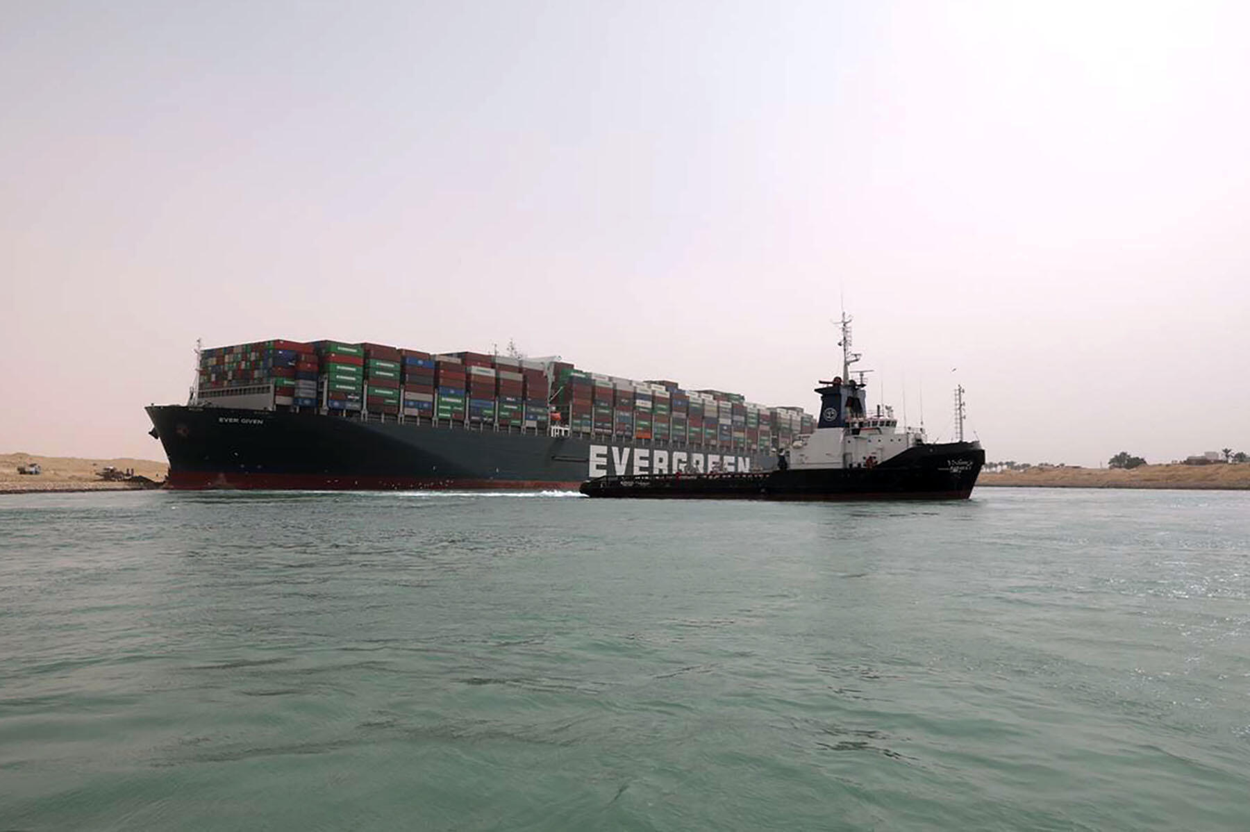 The Japanese-owned MV Ever Given got stuck during a sandstorm last Tuesday.