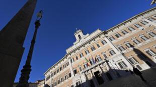 El palacio Montecitorio, sede de la cámara de diputados, el 12 de enero de 2021 en Roma, Italia