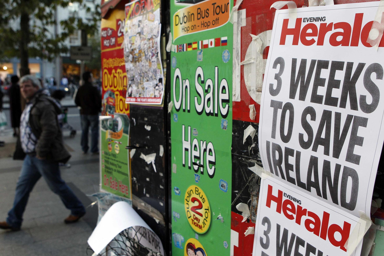 """""""Três semanas para salvar a Irlanda"""", diz a manchete de um jornal irlandês"""