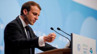 O presidente francês, Emmanuel Macron, durante seu discurso na COP23, em Bonn, na Alemanha.