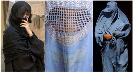 Different veils as worn by Muslim women: a niqab (l) and burkas (r)